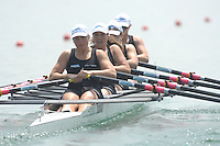 Beijing, CHINA, NZL JW4X, Bow Laura FISCHER, Alyce PULFORD, Lucy SPOORS and Kate REYMER, during the  2007. FISA Junior World Rowing Championships Shunyi Water Sports Complex. Wed. 08.08.2007  [Photo, Peter Spurrier/Intersport-images]..... , Rowing Course, Shun Yi Water Complex, Beijing, CHINA,