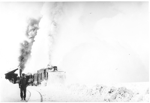 Rotary snowplow clearing snow at Cumbres Pass with two engines pushing.<br /> D&amp;RGW  Cumbres Pass, CO