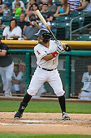 Rafael Lopez (17) of the Salt Lake Bees at bat against the Iowa Cubs in Pacific Coast League action at Smith's Ballpark on August 20, 2015 in Salt Lake City, Utah. The Cubs defeated the Bees 13-2.  (Stephen Smith/Four Seam Images)