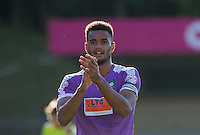 Curtis Nelson of Plymouth Argyle applauds the supporters during the Sky Bet League 2 match between Wycombe Wanderers and Plymouth Argyle at Adams Park, High Wycombe, England on 12 September 2015. Photo by Andy Rowland.