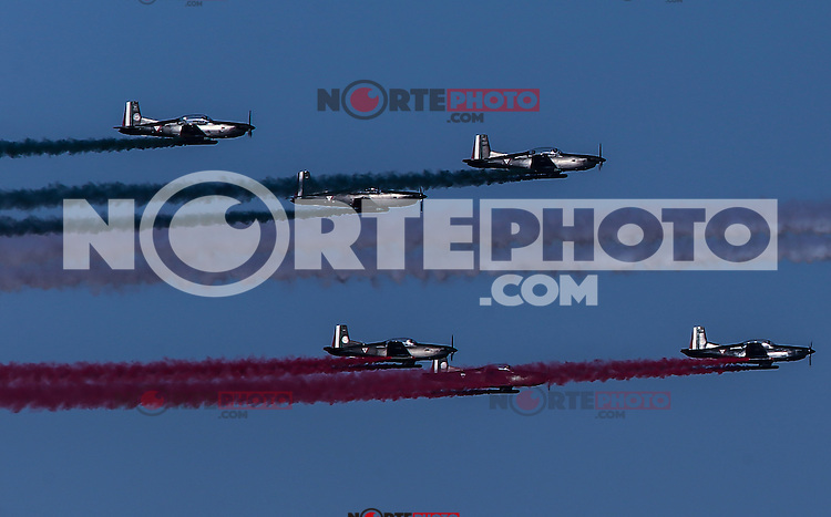 Airshow Airport of Hermosillo, at the opening of a new hangar by President Enrique Pe&ntilde;a Nieto, during the celebrations of the 101 anniversary of the Mexican Air Force, held at the Military Air Base No. 18. Hermosillo Sonora Mexico on February 10, 2016<br /> <br /> Espect&aacute;culo a&eacute;reo sobre el aeropuerto de Hermosillo, durante la inauguraci&oacute;n de un nuevo hangar por el presidente Enrique Pe&ntilde;a Nieto, durante los festejos del 101 aniversario de la Fuerza A&eacute;rea Mexicana, celebrado en la Base A&eacute;rea Militar n&ordm;18. Hermosillo Sonora M&eacute;xico a 10 febrero 2016
