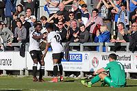 Darren McQueen celebrates scoring Dartford's opening goal with Mark Onyemah during Dartford vs Woking, Vanarama National League South Football at Princes Park on 23rd February 2019