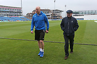 Andrew Gale of Yorkshire (L) and Umpire Ian Gould leave the field after play is abandoned for the day during Yorkshire CCC vs Essex CCC, Specsavers County Championship Division 1 Cricket at Emerald Headingley Cricket Ground on 13th April 2018