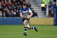Josh Bayliss of Bath Rugby goes on the attack. Anglo-Welsh Cup Final, between Bath Rugby and Exeter Chiefs on March 30, 2018 at Kingsholm Stadium in Gloucester, England. Photo by: Patrick Khachfe / Onside Images