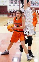 Westside Eagle Observer/RANDY MOLL<br /> Gravette junior Shylee Morrison attempts to get past Gentry senior Heidi Vinson for a shot under the basket during play in Gentry on Feb. 4, 2020.