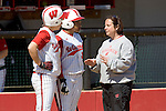 MADISON, WI - APRIL 16: Head coach Chandelle Schulte of the Wisconsin Badgers talks to her players against the Indiana Hoosiers at Goodman Diamond on April 16, 2007 in Madison, Wisconsin. (Photo by David Stluka)