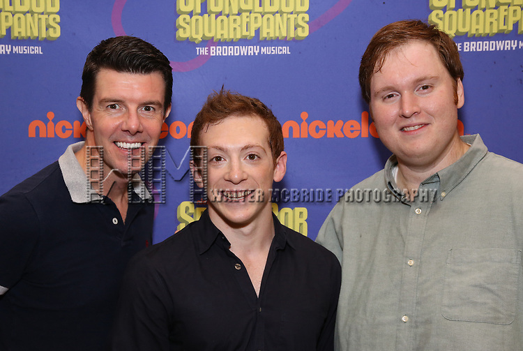 Gavin Lee, Ethan Slater and Danny Skinner during the Rehearsal Press Preview of the New Broadway  Musical on 'SpongeBob SquarePants'  on October 11, 2017 at the Duke 42nd Street Studios in New York City.