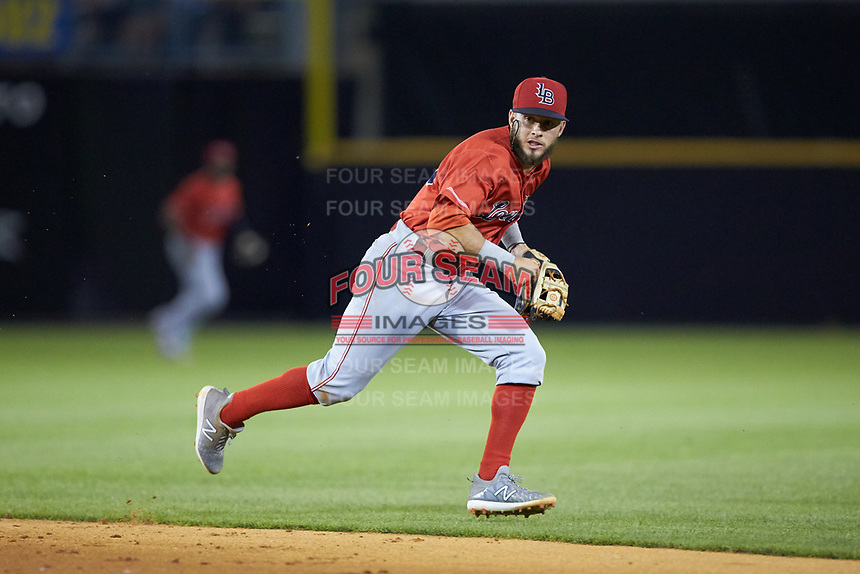 Louisville Bats second baseman Blake Trahan (16) on defense against the Toledo Mud Hens at Fifth Third Field on June 16, 2018 in Toledo, Ohio. The Mud Hens defeated the Bats 7-4.  (Brian Westerholt/Four Seam Images)