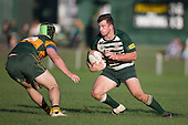Mark Selwyn looks to cut back inside Beaudene Birtwistle during the Counties Manukau Premier Club Rugby game between Pukekohe and Manurewa, played at Colin Lawrie Fields, Pukekohe, on Saturday May 28th, 2016. Pukekohe won the game 62 - 18 after leading 19 - 10 at halftime. Photo by Richard Spranger.