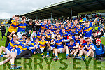 Tralee CBS team celebrate after winning the Corn Uí Mhuire final in Fitzgerald Stadium on Saturday