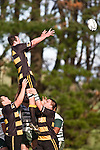 Josh Chamberlain goes high to claim lineout ball. Counties Manukau Premier Club Rugby game between Bombay & Manurewa played at Bombay on Saturday June 14th 2008..Bombay won 19 - 12 after leading 12 - 0 at halftime.