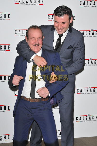 Enzo Calzaghe &amp; Joe Calzaghe attend the &quot;Mr Calzaghe&quot; gala film screening, The May Fair Hotel, Stratton Street, London, England, UK, on Wednesday 18 November 2015. <br /> CAP/CAN<br /> &copy;CAN/Capital Pictures