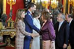 Princess Letizia of Spain, Prince Felipe of Spain, Queen Sofia of Spain and the Vice President of the Congress of Spain Celia Villalobos attend the Royal Palace reception on the National Military Parade.October 12,2012.(ALTERPHOTOS/Pool)