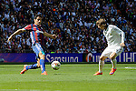 Real Madrid´s Luka Modric and Eibar´s Saul Berjon during 2014-15 La Liga match between Real Madrid and Eibar at Santiago Bernabeu stadium in Madrid, Spain. April 11, 2015. (ALTERPHOTOS/Luis Fernandez)