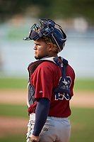 Mahoning Valley Scrappers catcher Jason Rodriguez (20) during the second game of a doubleheader against the Batavia Muckdogs on September 4, 2017 at Dwyer Stadium in Batavia, New York.  Mahoning Valley defeated Batavia 6-2.  (Mike Janes/Four Seam Images)
