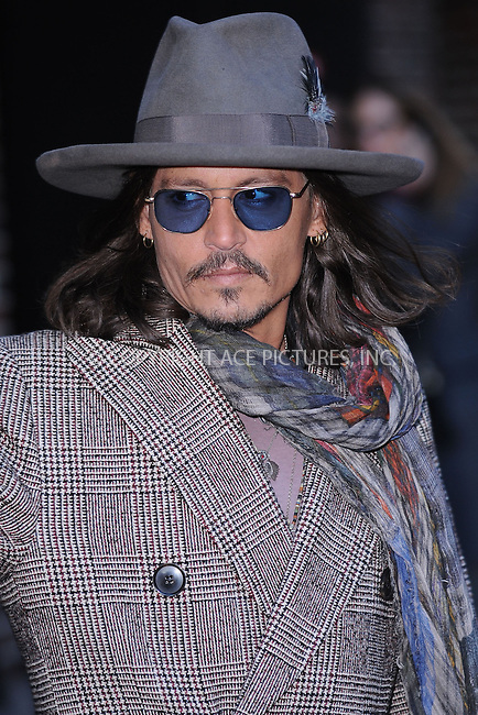 WWW.ACEPIXS.COM . . . . . .February 21, 2013...New York City....Johnny Depp after taping an appearance on the Late Show with David Letterman on February 21, 2012  in New York City....Please byline: KRISTIN CALLAHAN - ACEPIXS.COM.. . . . . . ..Ace Pictures, Inc: ..tel: (212) 243 8787 or (646) 769 0430..e-mail: info@acepixs.com..web: http://www.acepixs.com .