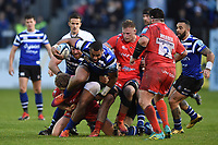 Joe Cokanasiga of Bath Rugby takes on the Sale Sharks defence. Gallagher Premiership match, between Bath Rugby and Sale Sharks on December 2, 2018 at the Recreation Ground in Bath, England. Photo by: Patrick Khachfe / Onside Images