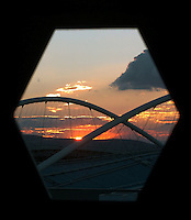 Aug 16, 2004 - Athens, GREECE - The sun sets behind the Olympic stadium in Athens, Greece Monday evening . .(Credit Image: © Alan Greth/ZUMA Press)