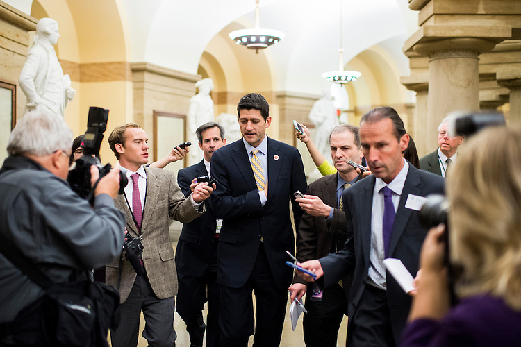 UNITED STATES - OCTOBER 10: Rep. Paul Ryan, R-Wisc., speaks with reporters as he leaves the news conference with media availability with Republican White House meeting participants on Thursday, Oct. 10, 2013. (Photo By Bill Clark/CQ Roll Call)