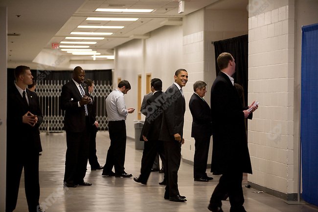 Senator Barack Obama, Democratic presidential candidate, backstage at a campaign event in the Omaha Civic Center, Omaha, Nebraska, February 7, 2008.