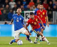 Italy Daniele De Rossi, left, is fouled by Spain Diego Costa during the Fifa World Cup 2018 qualification soccer match between Italy and Spain at Turin's Juventus Stadium, October 6, 2016. The game ended 1-1.<br /> UPDATE IMAGES PRESS/Isabella Bonotto