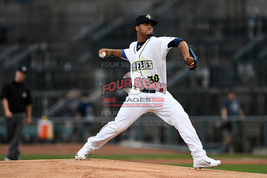 Starting pitcher Merandy Gonzalez (38) of the Columbia Fireflies with the South team pitches during the South Atlantic League All-Star Game on Tuesday, June 20, 2017, at Spirit Communications Park in Columbia, South Carolina. The game was suspended due to rain after seven innings tied, 3-3. (Tom Priddy/Four Seam Images)