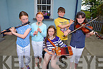Local musicians Sinead O'Neill, Carolyn Buckley, Michelle O'Neill, Patrick Buckley and Orlaith Twomey pictured last Sunday on the streets of Brosna for the 14th Annual Con Curtin music Festival.