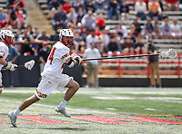 College Park, MD - April 22, 2018: Maryland Terrapins Nick Brozowski (24) runs with the ball during game between Ohio St. and Maryland at  Capital One Field at Maryland Stadium in College Park, MD.  (Photo by Elliott Brown/Media Images International)