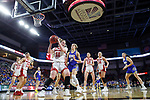 SIOUX FALLS, SD - MARCH 10: Monica Arens #11 of the South Dakota Coyotes controls the ball in front of Tylee Irwin #21 of the South Dakota State Jackrabbits during the women's championship game at the 2020 Summit League Basketball Tournament in Sioux Falls, SD. (Photo by Richard Carlson/Inertia)
