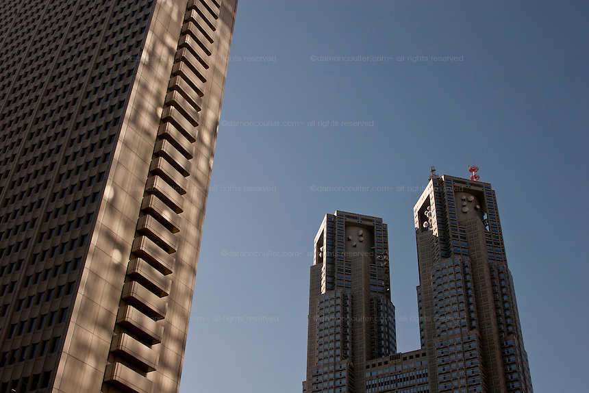 The twin towers of Tokyo Metropolitan Government building. Shinjuku, Tokyo, Japan Wednesday November 21st 2007