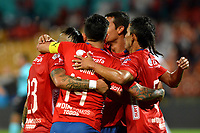 MEDELLIN-COLOMBIA, 10-03-2019: Los jugadores de Deportivo Independiente Medellín celebran el gol anotado a Independiente Santa Fe, durante partido de la fecha 9 entre Deportivo Independiente Medellín y el Independiente Santa Fe, por la Liga Águila I 2019, en el estadio Atanasio Girardot de la ciudad de Medellín. / The players of Deportivo Independiente Medellin celebrate a scored goal to Independiente Santa Fe, during a match for the 9th date between Deportivo Independiente Medellin and Independiente Santa Fe, for the Aguila Leguaje I 2019 at the Atanasio Girardot stadium in Medellin city. Photos: VizzorImage  / León Monsalve / Cont.
