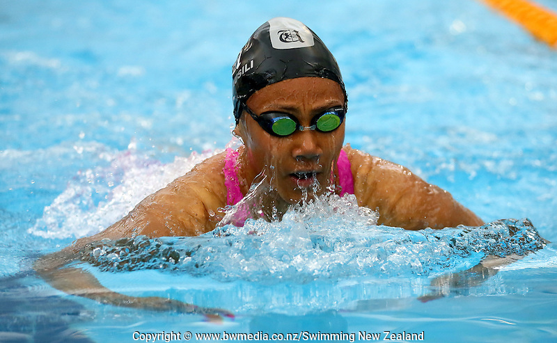 Gabrielle Fa'amausili during Session Six of the 2015 New Zealand Short Course Championships, Sir Owen G. Glenn National Aquatic Centre, Auckland, New Zealand, 13 August 2015. Photo: Simon Watts/www.bwmedia.co.nz