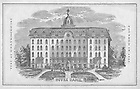GNDL 3/48:  Engraving of Second Main Building from the 1864-1865 Notre Dame Catalog..Image from the University of Notre Dame Archives.