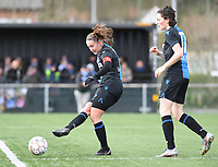 20200329 – BRUGGE, BELGIUM : Club Brugge's Ellen Martens pictured with Club Brugge's Frieke Temmerman during a women soccer game between Dames Club Brugge and Standard Femina de Liege on the 17 th matchday of the Belgian Superleague season 2019-2020 , the Belgian women's football  top division , saturday 29 th February 2020 at the Jan Breydelstadium – terrain 4  in Brugge  , Belgium  .  PHOTO SPORTPIX.BE | DAVID CATRY