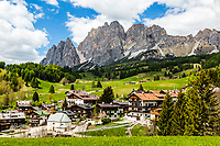 Cortina d'Ampezzo a beautiful alpine community high in the Dolomite Alps of Northern Italy. has a thousand year old history and a long tradition as a tourist destination. Today the tourist resort is optimistic about the future.  The beauty of the Ampezzo Valley, attracts visitors from around the world at any time of year. It is surrounded by majestic peaks, part of the UNESCO World Natural Heritage: the Dolomites!