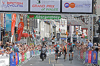 """Erick Rowsell (L) of the Madison Genesis cycle team crosses the finishing line in 2nd place during the Abergavenny Festival of Cycling """"Grand Prix of Wales"""" race on Sunday 17th 2016<br /> <br /> <br /> Jeff Thomas Photography -  www.jaypics.photoshelter.com - <br /> e-mail swansea1001@hotmail.co.uk -<br /> Mob: 07837 386244 -"""