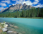Banff National Park, Alberta<br /> The glacial waters of the Bow River with Castle mountain (9390 ft) in the distance