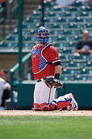Rochester Red Wings catcher Cameron Rupp (22) looks into the dugout during a game against the Lehigh Valley IronPigs on July 1, 2018 at Frontier Field in Rochester, New York.  Rochester defeated Lehigh Valley 7-6.  (Mike Janes/Four Seam Images)