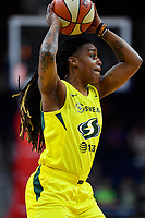 Washington, DC - June 14, 2019: Seattle Storm guard Shavonte Zellous (11) in a action during game between Seattle Storm and Washington Mystics at the St. Elizabeths East Entertainment and Sports Arena in Washington, DC. The Storm hold on to defeat the Mystics 74-71. (Photo by Phil Peters/Media Images International)