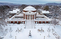 Snow covers the Rotunda, a world heritage site at the University of Virginia. Photo/Andrew Shurtleff Photography, LLC