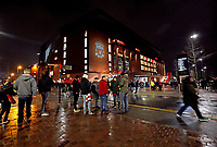 A general view of Anfield, home of Liverpool as fans arrive ahead of kick off<br /> <br /> Photographer Rich Linley/CameraSport<br /> <br /> UEFA Champions League Round of 16 First Leg - Liverpool and Bayern Munich - Tuesday 19th February 2019 - Anfield - Liverpool<br />  <br /> World Copyright © 2018 CameraSport. All rights reserved. 43 Linden Ave. Countesthorpe. Leicester. England. LE8 5PG - Tel: +44 (0) 116 277 4147 - admin@camerasport.com - www.camerasport.com