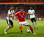 Stefan Lainer of Austria holds up Gareth Bale of Wales during the World Cup Qualifying Group D match at the Cardiff City Stadium, Cardiff. Picture date 2nd September 2017. Picture credit should read: Simon Bellis/Sportimage