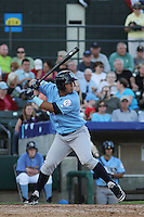 Wilmington Blue Rocks third baseman Cheslor Cuthbert #32 at bat during the first game of a doubleheader against the Myrtle Beach Pelicans at Ticketreturn.com Field at Pelicans Ballpark on May 25, 2013 in Myrtle Beach, South Carolina. Wilmington defeated Myrtle Beach 8-3. (Robert Gurganus/Four Seam Images)