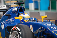 March 14, 2015: Marcus Ericsson (SWE) #9 from the Sauber F1 Team leaves the pits for practise three at the 2015 Australian Formula One Grand Prix at Albert Park, Melbourne, Australia. Photo Sydney Low