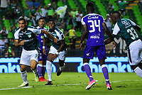 PALMIRA - COLOMBIA - 14 - 03 - 2018: Jose Sand (Izq.), jugador de Deportivo Cali celebra el gol anotado a Once Caldas, durante partido entre Deportivo Cali y Once Caldas de la fecha 8 por la liga Aguila I 2018, jugado en el estadio Deportivo Cali (Palmaseca) en la ciudad de Palmira. / Jose Sand (L), player of Deportivo Cali celebrates a scored goal to Once Caldas, during a match between Deportivo Cali and Once Caldas of the 8th date for the Liga Aguila I 2018, at the Deportivo Cali (Palmaseca) stadium in Palmira city. Photo: VizzorImage  / Nelson Rios / Cont.