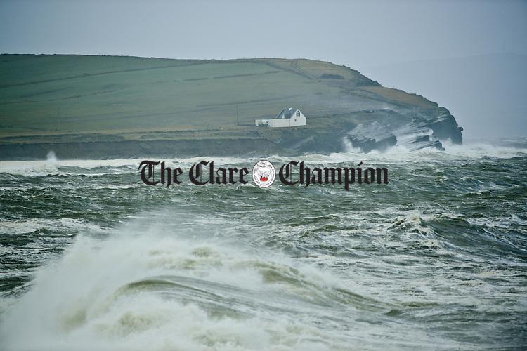 High seas pound the coast in Kilbaha during Storm Imogen. Photograph by John Kelly.