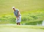 MUSCLE SHOALS, AL - MAY 25: Lynn's Jorge Villar chips onto the 17th green during the Division II Men's Team Match Play Golf Championship held at the Robert Trent Jones Golf Trail at the Shoals, Fighting Joe Course on May 25, 2018 in Muscle Shoals, Alabama. Lynn defeated West Florida 3-2 to win the national title. (Photo by Cliff Williams/NCAA Photos via Getty Images)