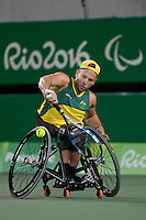 Dylan Alcott (AUS) defeats Andy Lapthorne (GBR) &ndash; for the Men&rsquo;s quad singles gold medal<br /> Olympic Stadium / Day 7 WC Tennis<br /> 2016 Paralympic Games - RIO Brazil<br /> Australian Paralympic Committee<br /> Rio Brazil Wednesday 14th September 2016<br /> &copy; Sport the library / Jeff Crow