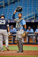 Kevin Melendez (14) during the Tampa Bay Rays Instructional League Intrasquad World Series game on October 3, 2018 at the Tropicana Field in St. Petersburg, Florida.  (Mike Janes/Four Seam Images)