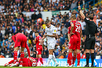 Leeds United's Kalvin Phillips is shown a yellow card for a foul on Nottingham Forest's Tiago Silva<br /> <br /> Photographer Alex Dodd/CameraSport<br /> <br /> The EFL Sky Bet Championship - Leeds United v Nottingham Forest - Saturday 10th August 2019 - Elland Road - Leeds<br /> <br /> World Copyright © 2019 CameraSport. All rights reserved. 43 Linden Ave. Countesthorpe. Leicester. England. LE8 5PG - Tel: +44 (0) 116 277 4147 - admin@camerasport.com - www.camerasport.com